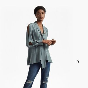 French connection classic crepe light tie neck top